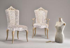 MISSIS sillón 8619A, Silla clásica con los brazos, con respaldo tallado