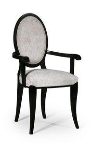 Molly silla con brazos, Silla de estilo clásico con respaldo acolchado ovalado