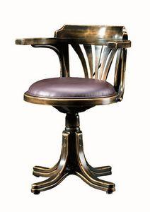 Vanessa FA.0161, Sillón giratorio de madera curvada, de estilo clásico en el lujo