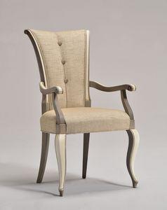 VANNA sillón 8644A, Silla elegante con brazos, tapizado en tela