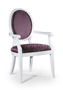 Vicky silla con brazos, Silla de estilo clásico con apoyabrazos, con respaldo acolchado ovalado