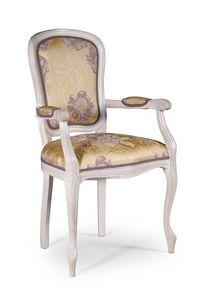 Vittoria sillón, Silla de estilo clásico con apoyabrazos acolchados, para el comedor