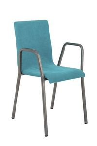 Art.Niù silla con brazos, Silla de metal con asiento acolchado y respaldo
