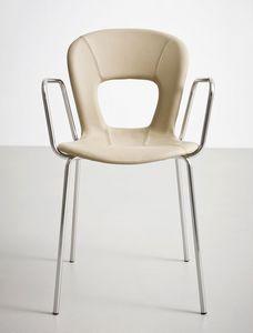Blog UPH TB, Silla con brazos, asiento de cuero, base de metal