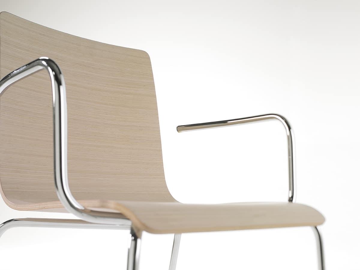 Tesa wood AR, Silla apilable de metal, cáscara de chapa de madera