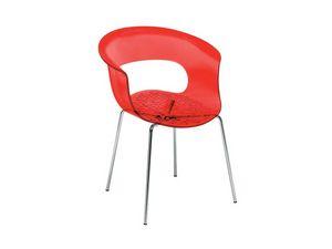 Miss b armchair, Sillón en acero cromado, carcasa de policarbonato