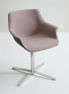 More UPH L, Sillón con base de metal, asiento cubierto de tela