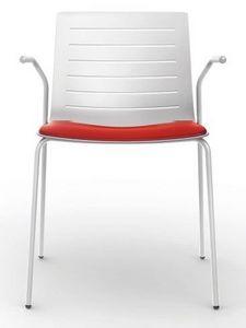 Slim 01A, Silla apilable con apoyabrazos ideal para sala de conferencias