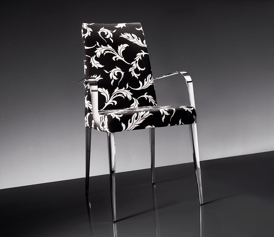 ART. 247/1/B 247/2/B HOLLYWOOD ARMCHAIR, Sillón en metal cromado, tapizado en tela o cuero
