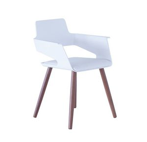 B32 4WL, Silla con carcasa de plástico y patas de madera ideal para bares y cocinas modernas