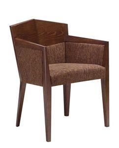 C35, Sillón con brazos en madera de haya, asiento y respaldo tapizados, cubiertas de tela, para restaurantes y hoteles