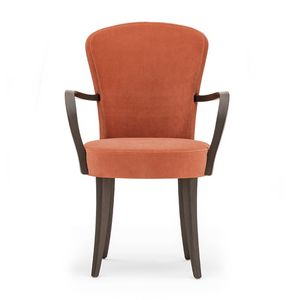 Euforia 00121, Butaca en madera maciza, asiento y respaldo tapizados, tela, estilo moderno
