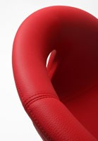 Moema cuero 75 V, Silla de cuero cubierto, base de metal cromado