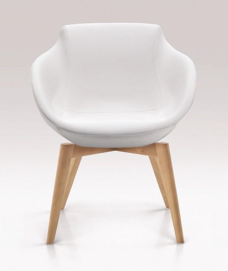 PL 5005, Silla con patas de madera, tapizados con poliuretano
