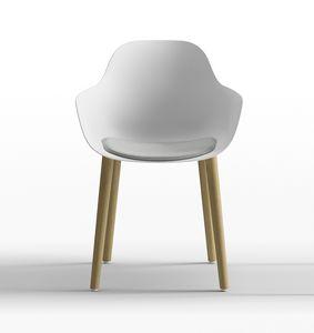 Pola Round P_4W, Silla de diseño de polipropileno con patas de madera