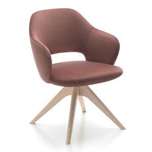 Vivian armchair, Sillón disponible con diferentes bases de madera.