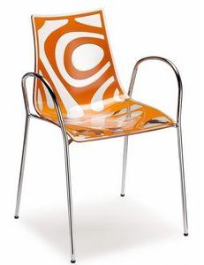 Wave silla con los brazos, Silla design en metal y technopolímero, apilable