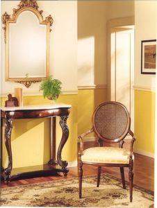 3025 SILLA, Butaca de madera con asiento acolchado, de estilo clásico