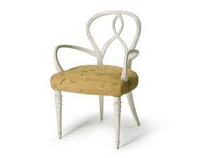 Art.496 armchair, Sillón en madera de nogal en bruto, asiento tapizado