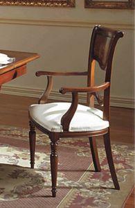 Canova silla cabeza de la mesa, Silla de cabeza de la mesa, tallada y con incrustaciones de madera de nogal