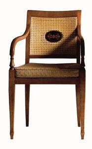 Cecilia FA.0155, Sillón con brazos de madera maciza, asiento tapizado cubierta de tela, malla, estilo Luis XVI