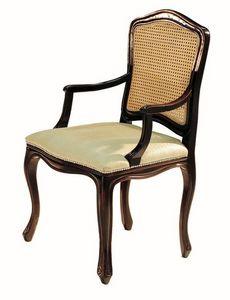 Da Vinci RA.0986, Negro lacado pequeño sillón con asiento tapizado en tela y paja vuelta