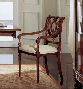 Gardenia silla de la cabeza de la mesa, Silla d e la cabeza de la mesa en madera de nogal, con posterior perforada