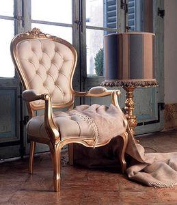 Giorgione armchair, Sillón de cuero de tapizado, para la sala de estar clásica