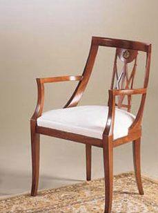IMPERO / Stuffed armchair, Sillón en madera con asiento tapizado, de estilo clásico