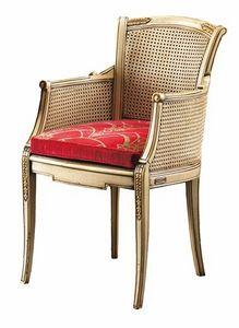 Isabella FA.0160, Silla Canne con asiento acolchado, ideal para salas de estar de estilo clásico y lujoso