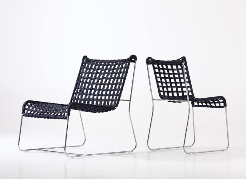 In/Out LO, Sillón lineal, asiento en cuerda tejida, para interiores y exteriores