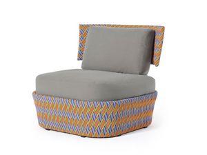 Kente silla con brazos, Sillón de exterior moderno, tejido en fibra sintética