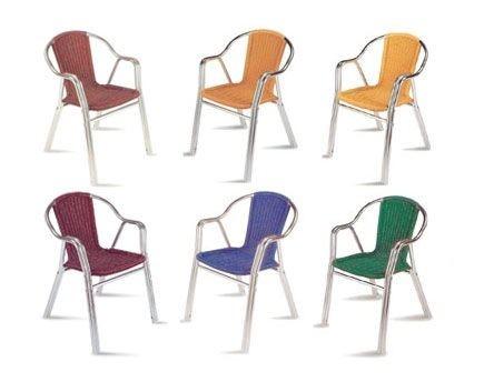 PL 412, Silla moderna con asiento tejido, para el aire libre