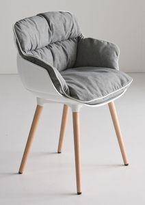 Choppy BL, Sillón de diseño con 4 patas de madera de haya, cubierta de polímero