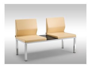 Tre-Di 2 seats sofa with table 9990310, Banco con asientos tapizados y una mesa para salas de espera
