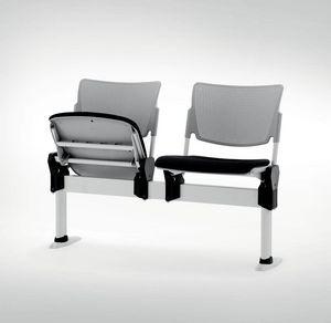 UF 104 - BANCO, Hilera de sillas con asiento plegable, fabricado en Italia