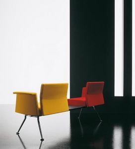 Ypsilon element, Banco del metal, con brazos y mesa, para sala de espera