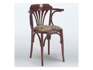 121 T, Rústica silla con brazos, madera curvada, para la casa