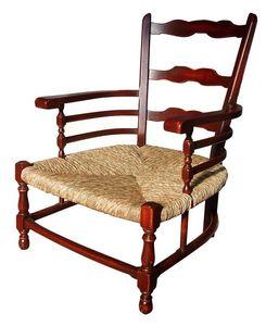 Victoire BR.0252, Sillón Provenzal lacado con brazos, asiento de paja, para ambientes rústicos