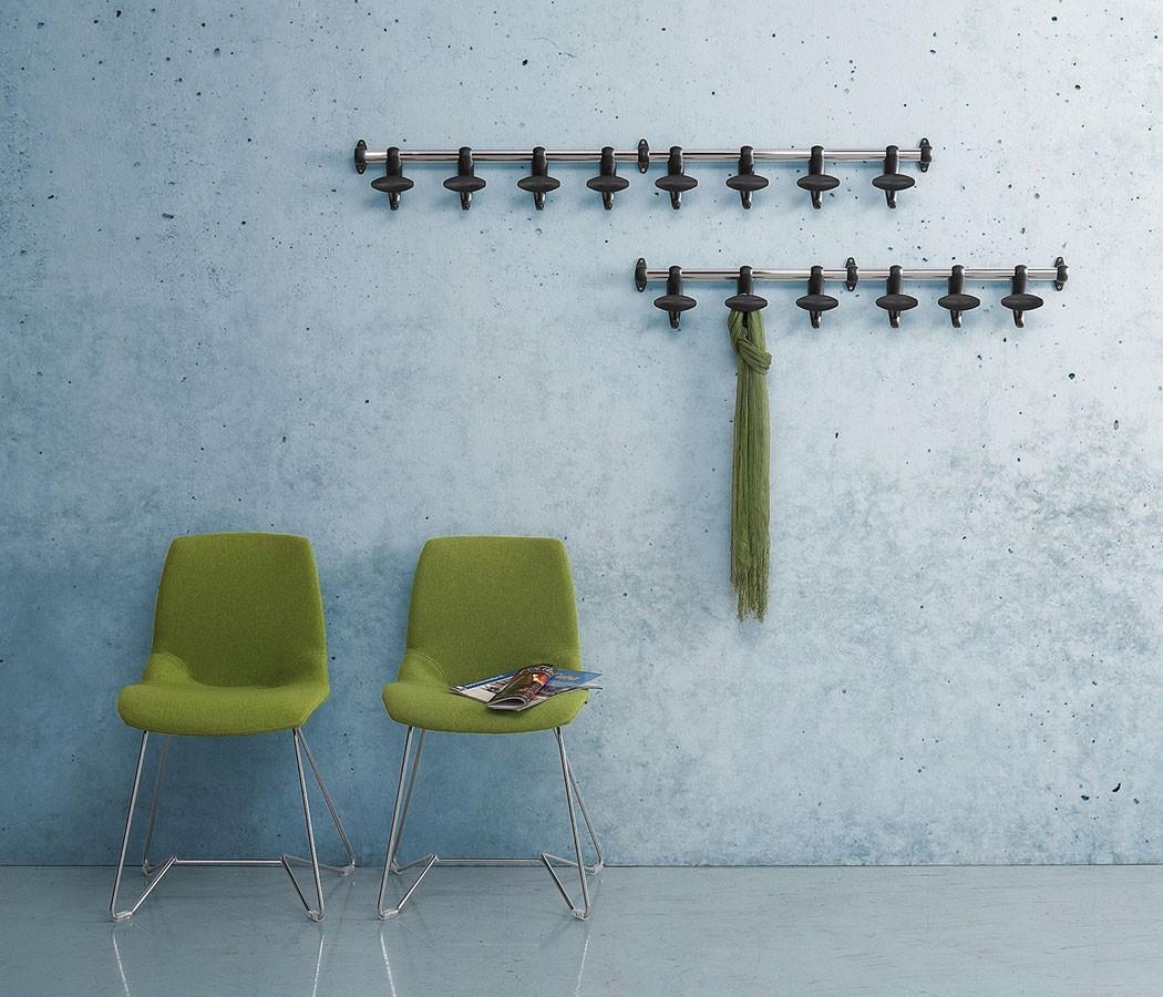 Hoow wall coat rail, Acero percha pared y policarbonato