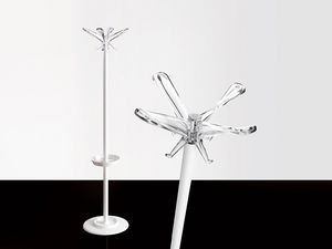 Swing T coat stand, Perchero en acero pintado con soporte sombrillas