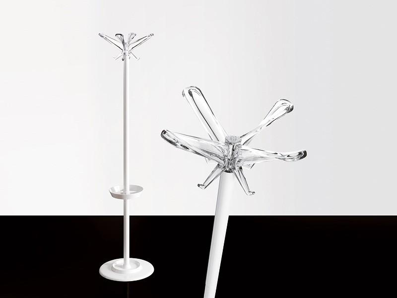 Swing T coat stand, Perchero en acero pintado con soporte sombrillas