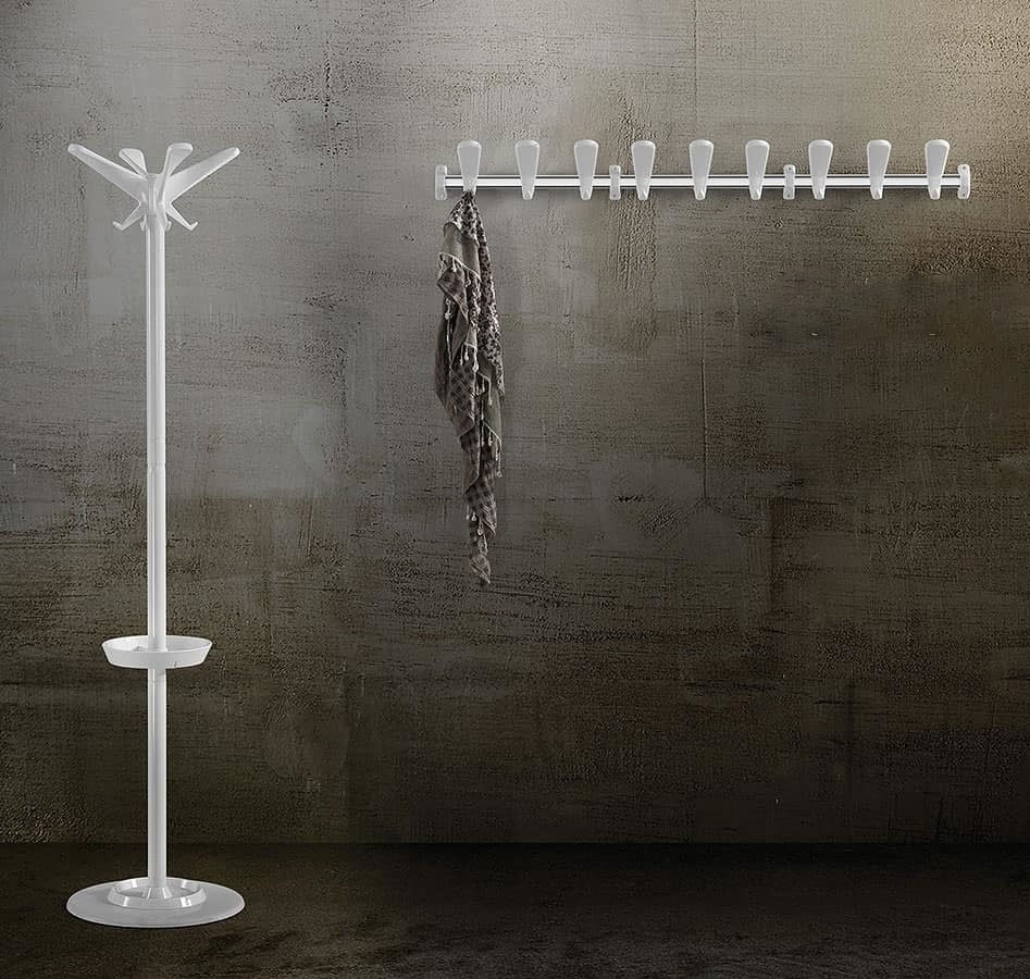 Swing wall coat rail, Gancho para ropa modular en acero y polímeros