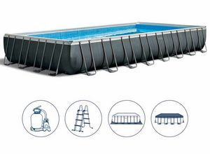 Intex Swimming Pool 26374 Ex 26372 Ultra Frame Rectangular Large 975x488x132, Gran piscina inflable con cubierta.