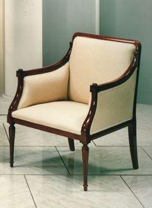 2090 SILLON, Sillón clásico de lujo con estructura de madera visible
