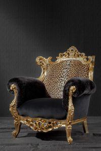 Finlandia animalier, Butaca de lujo, tapizado en tejido estampado de leopardo