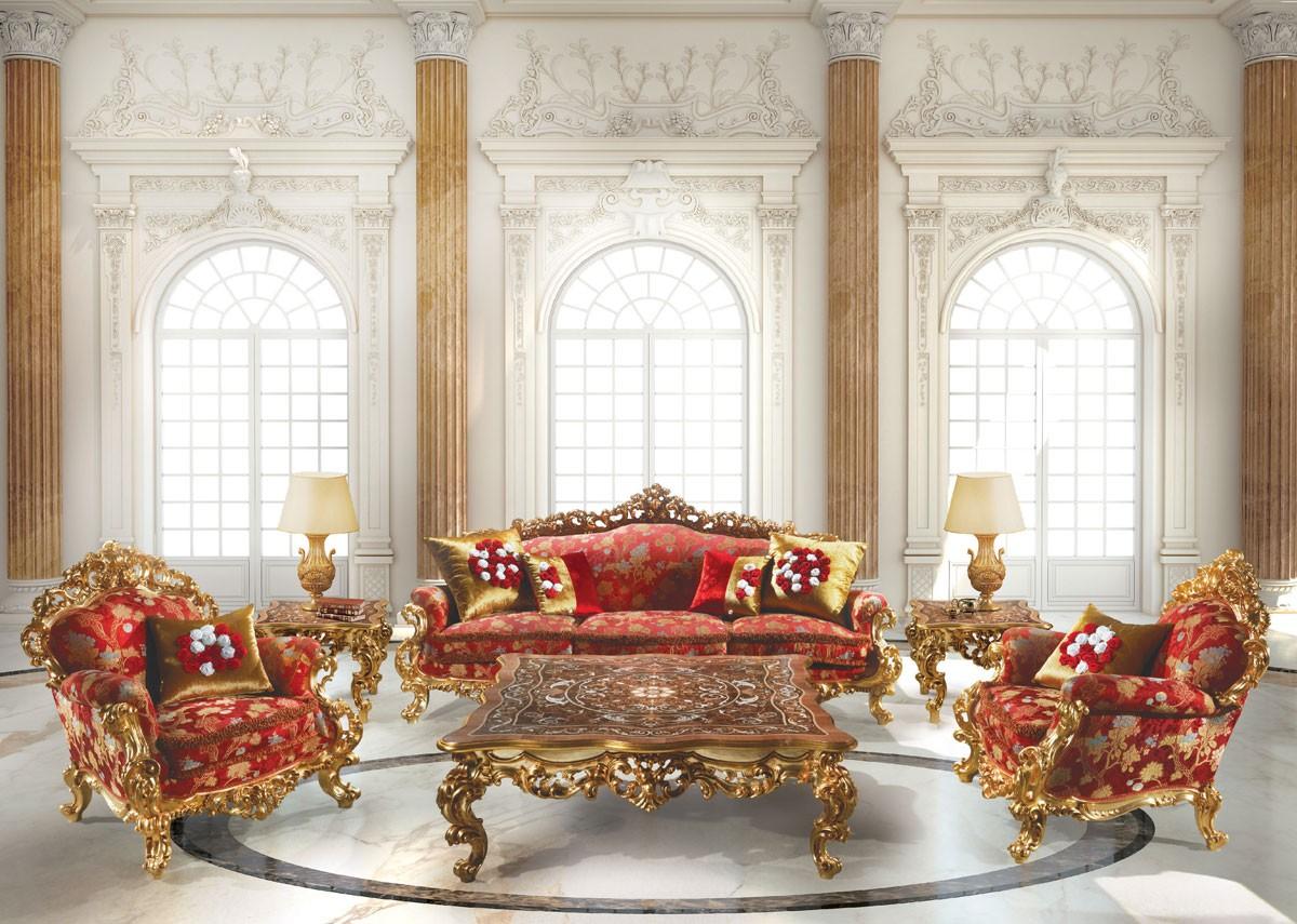 248 Living room, Barroco Sillón, en madera, para un hotel de suite