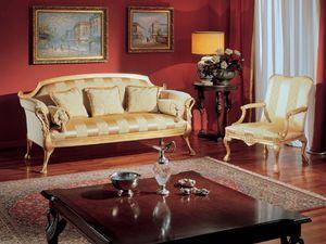 3180 ARMCHAIR, Sillón clásico con decoraciones de oro para salas de estar