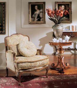 3210 ARMCHAIR LUIGI XV, Lujo clásico sillón tapizado, estilo Luis XV