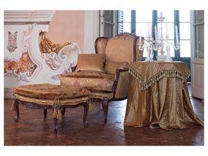 Anna armchair, Elegante sillón clásico, nogal acabado brillante